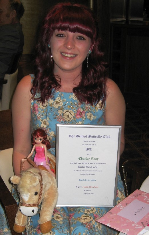 Charley Troy with BA statuette and Trojan horse
